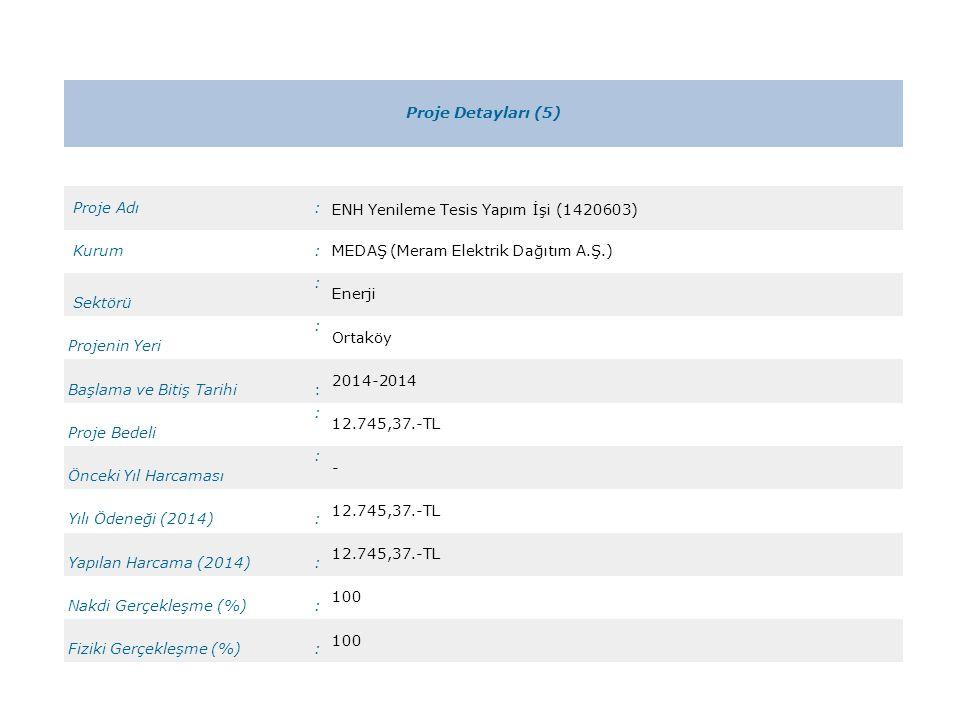 Proje Detayları (5) Proje Adı. : ENH Yenileme Tesis Yapım İşi (1420603) Kurum. MEDAŞ (Meram Elektrik Dağıtım A.Ş.)