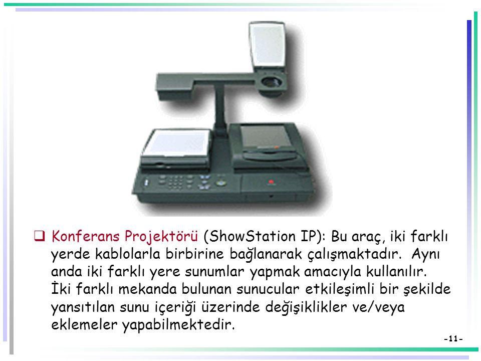 Konferans Projektörü (ShowStation IP): Bu araç, iki farklı yerde kablolarla birbirine bağlanarak çalışmaktadır.