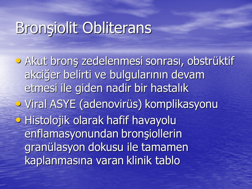 Bronşiolit Obliterans