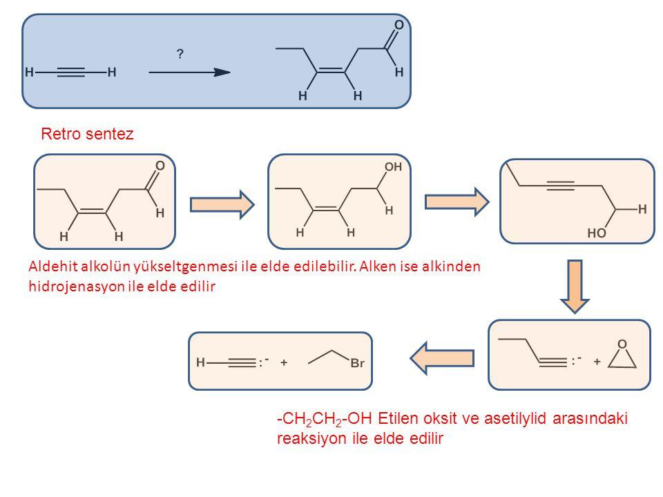 Retro sentez Aldehit alkolün yükseltgenmesi ile elde edilebilir. Alken ise alkinden hidrojenasyon ile elde edilir.