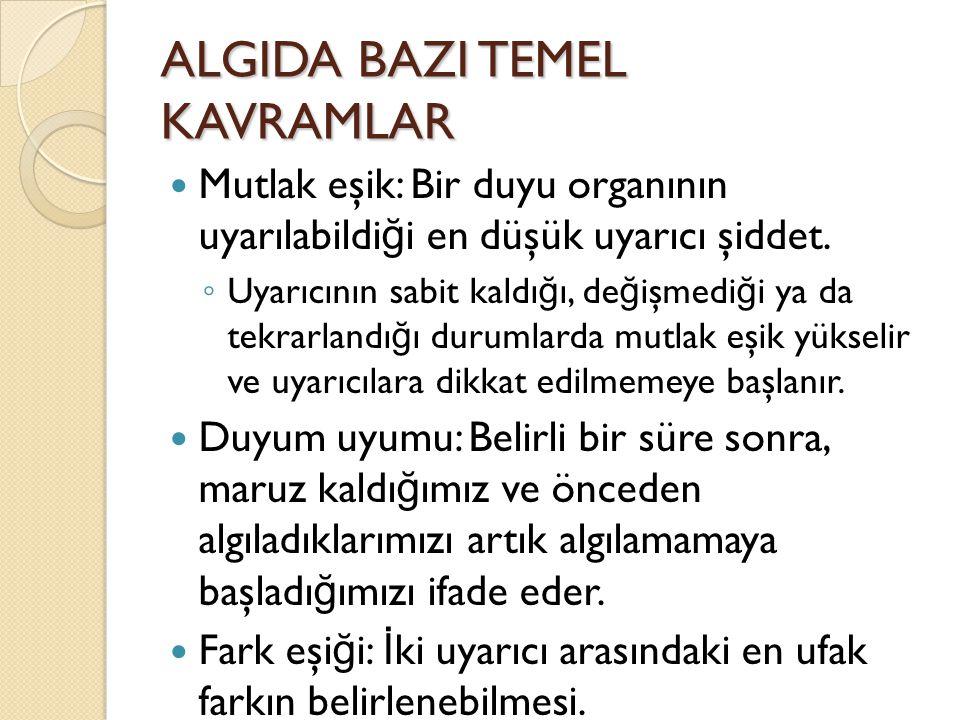 ALGIDA BAZI TEMEL KAVRAMLAR