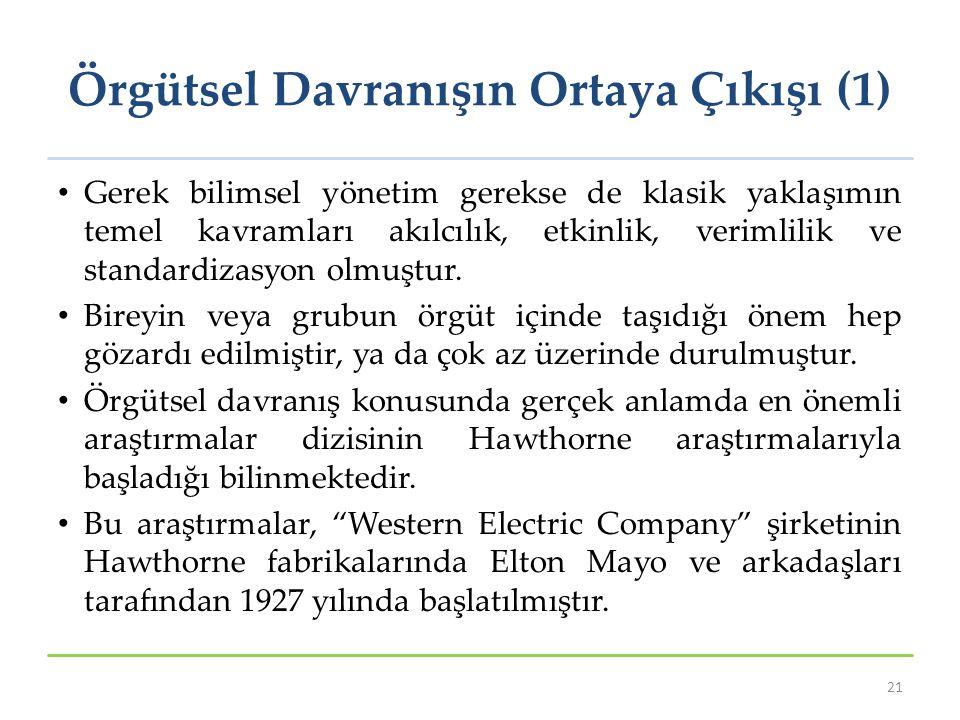 Örgütsel Davranışın Ortaya Çıkışı (1)
