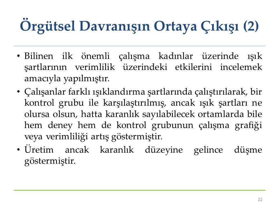 Örgütsel Davranışın Ortaya Çıkışı (2)
