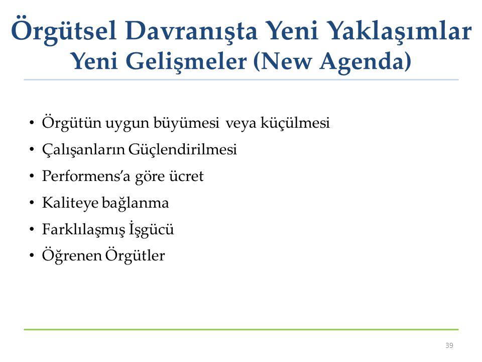 Örgütsel Davranışta Yeni Yaklaşımlar Yeni Gelişmeler (New Agenda)