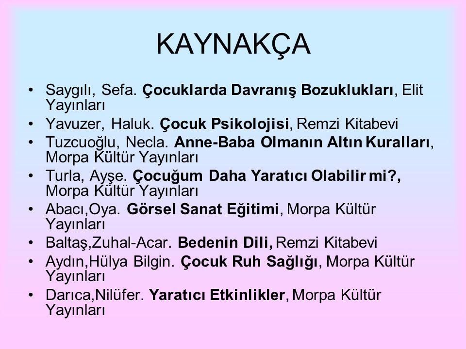 KAYNAKÇA Saygılı, Sefa. Çocuklarda Davranış Bozuklukları, Elit Yayınları. Yavuzer, Haluk. Çocuk Psikolojisi, Remzi Kitabevi.