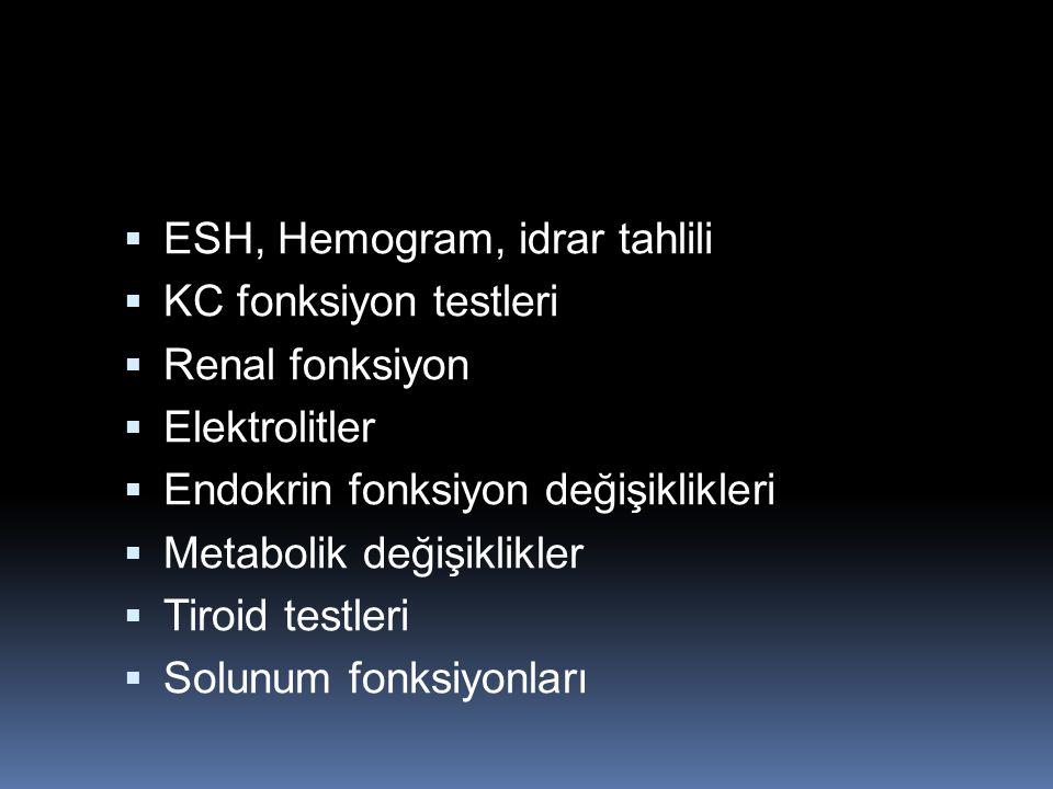 ESH, Hemogram, idrar tahlili