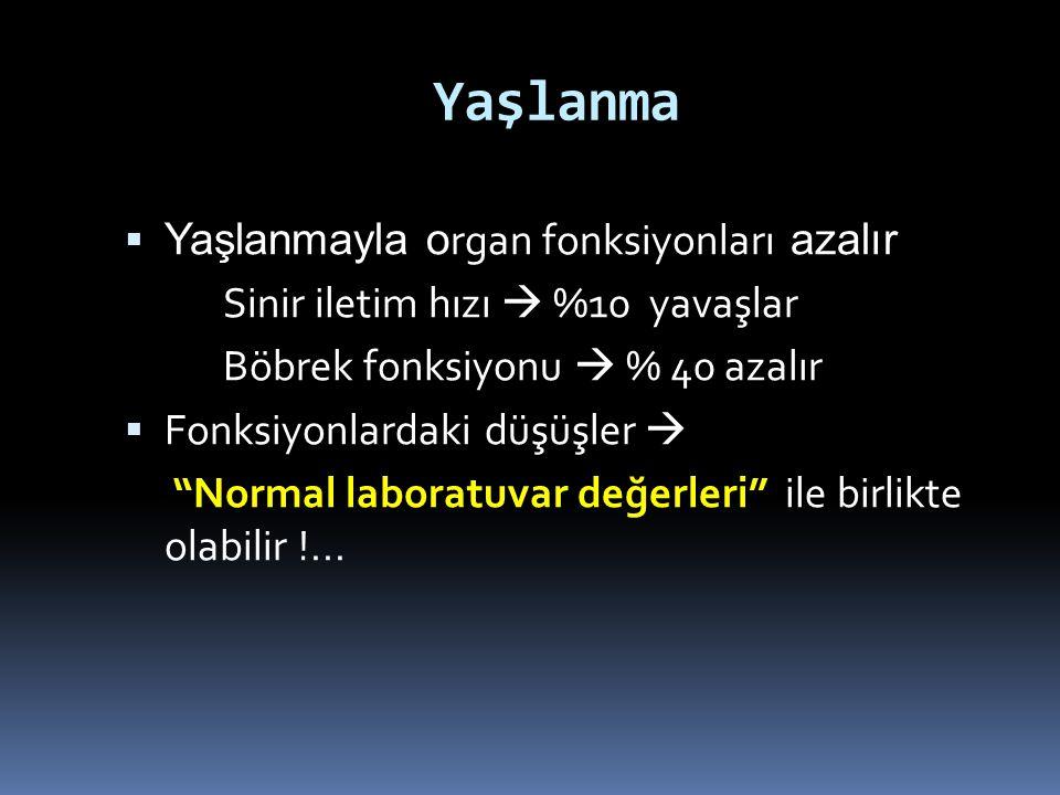 Yaşlanma Yaşlanmayla organ fonksiyonları azalır