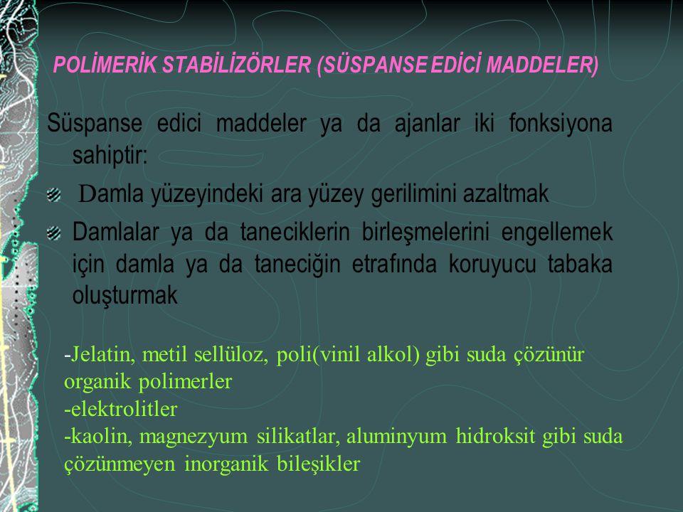 POLİMERİK STABİLİZÖRLER (SÜSPANSE EDİCİ MADDELER)
