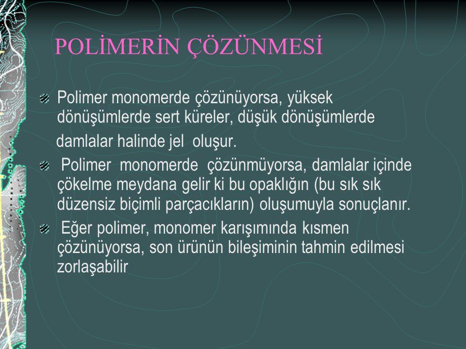 POLİMERİN ÇÖZÜNMESİ Polimer monomerde çözünüyorsa, yüksek dönüşümlerde sert küreler, düşük dönüşümlerde.