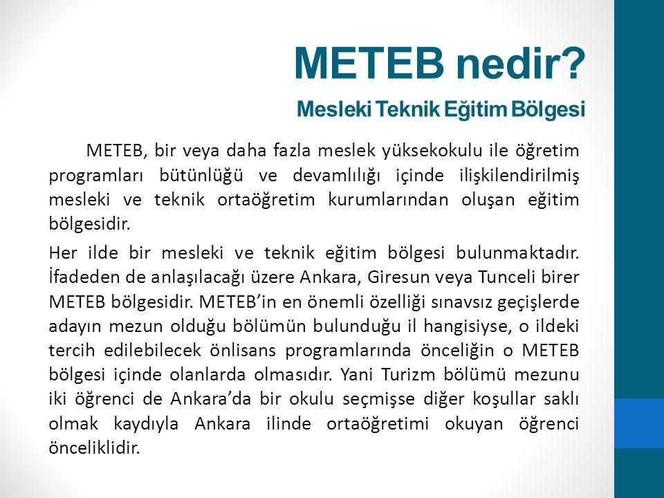 METEB nedir Mesleki Teknik Eğitim Bölgesi