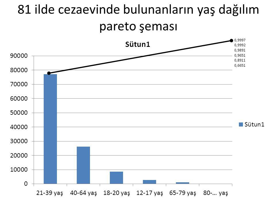 81 ilde cezaevinde bulunanların yaş dağılım pareto şeması