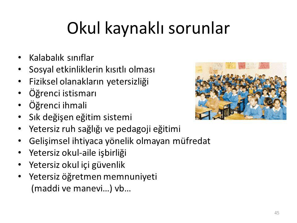 Okul kaynaklı sorunlar