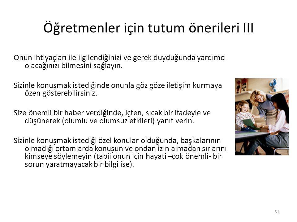 Öğretmenler için tutum önerileri III