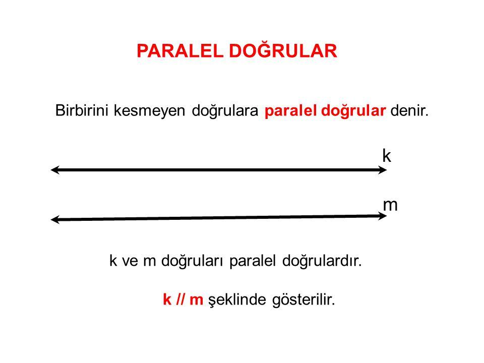 PARALEL DOĞRULAR Birbirini kesmeyen doğrulara paralel doğrular denir. k. m. k ve m doğruları paralel doğrulardır.