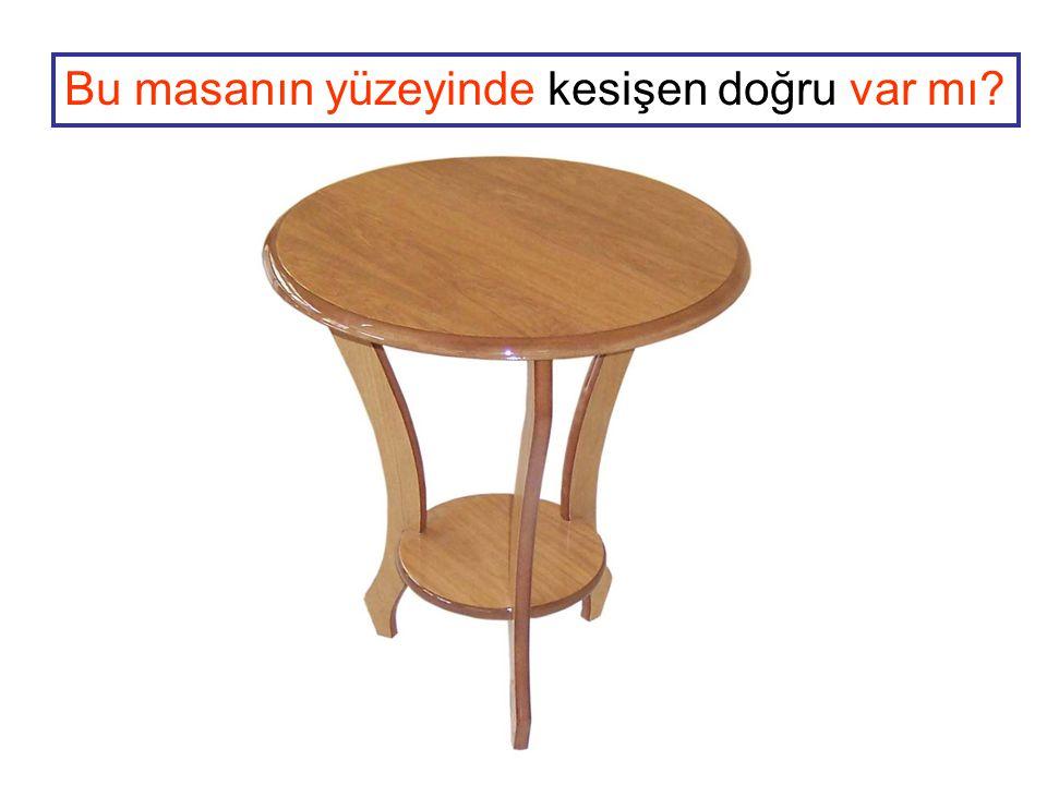 Bu masanın yüzeyinde kesişen doğru var mı