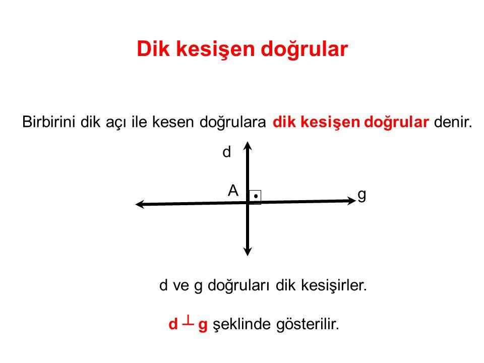 Dik kesişen doğrular Birbirini dik açı ile kesen doğrulara dik kesişen doğrular denir. d. A. g. d ve g doğruları dik kesişirler.