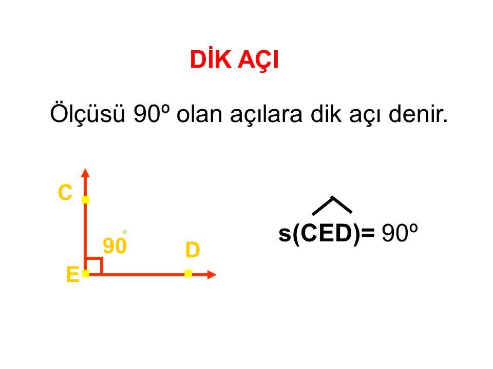 DİK AÇI Ölçüsü 90º olan açılara dik açı denir. 90 E D C . s(CED)= 90º