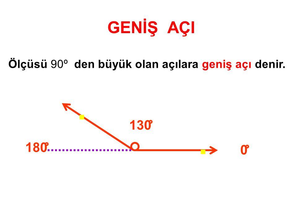 GENİŞ AÇI Ölçüsü 90º den büyük olan açılara geniş açı denir. . 180 130