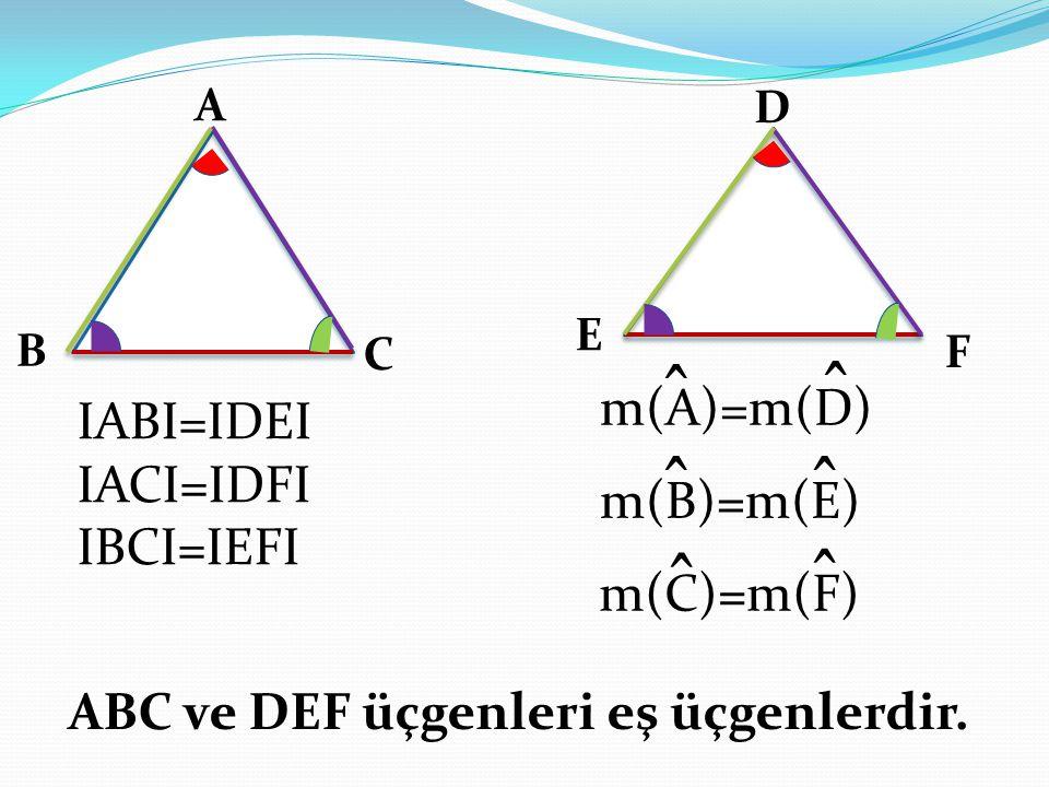 ̂ ̂ ̂ ̂ ̂ ̂ m(A)=m(D) IABI=IDEI IACI=IDFI IBCI=IEFI m(B)=m(E)