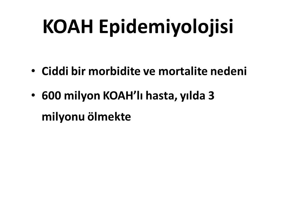 KOAH Epidemiyolojisi Ciddi bir morbidite ve mortalite nedeni