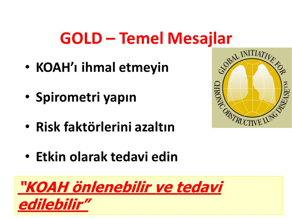 GOLD – Temel Mesajlar KOAH'ı ihmal etmeyin Spirometri yapın