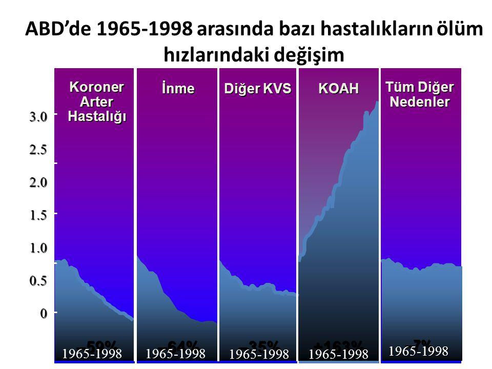ABD'de 1965-1998 arasında bazı hastalıkların ölüm hızlarındaki değişim