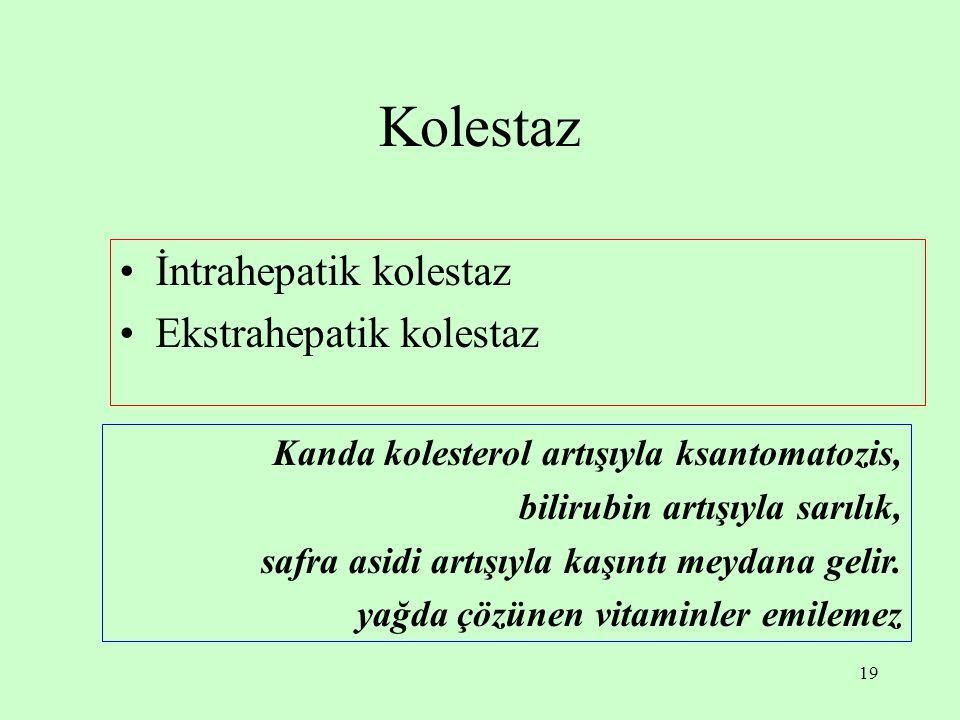 Kolestaz İntrahepatik kolestaz Ekstrahepatik kolestaz