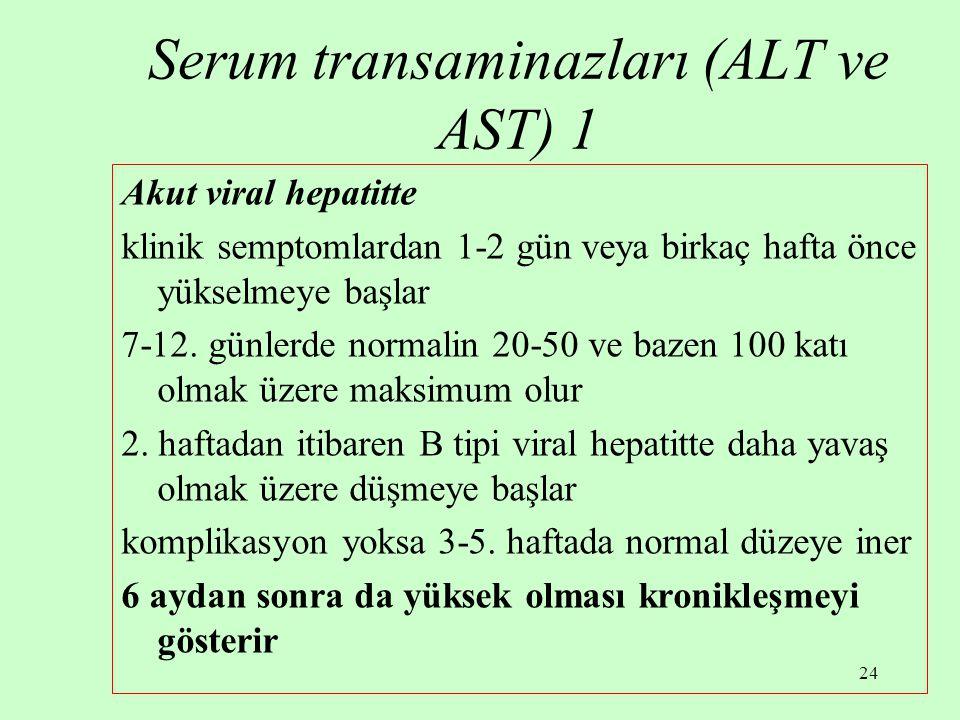 Serum transaminazları (ALT ve AST) 1