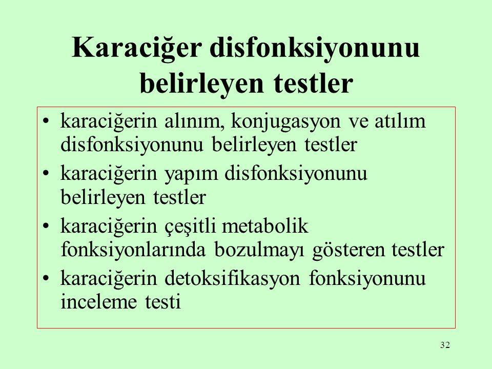 Karaciğer disfonksiyonunu belirleyen testler