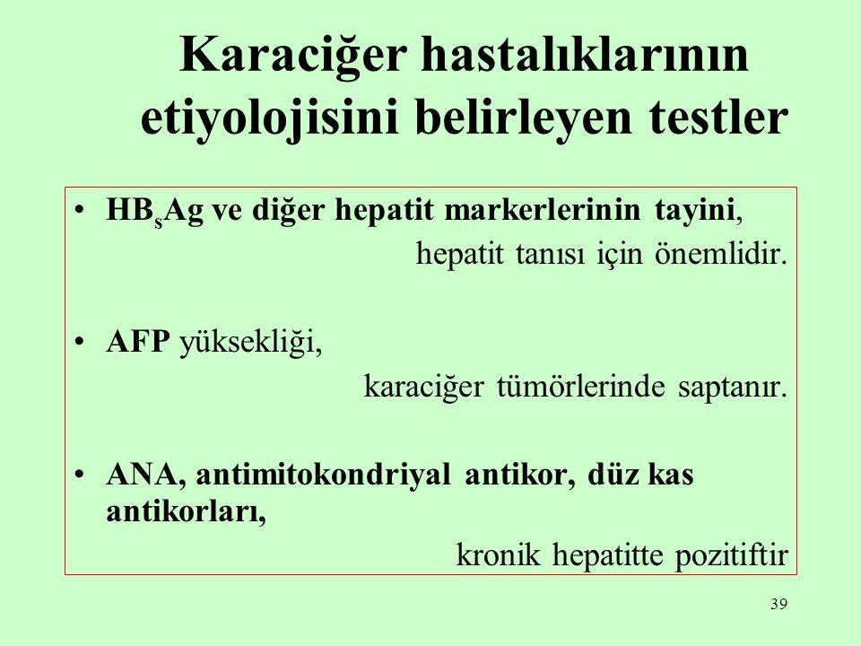 Karaciğer hastalıklarının etiyolojisini belirleyen testler