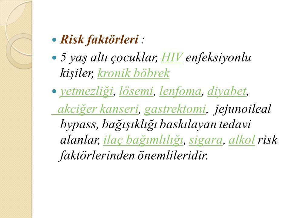 Risk faktörleri : 5 yaş altı çocuklar, HIV enfeksiyonlu kişiler, kronik böbrek. yetmezliği, lösemi, lenfoma, diyabet,