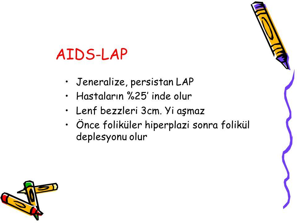 AIDS-LAP Jeneralize, persistan LAP Hastaların %25' inde olur