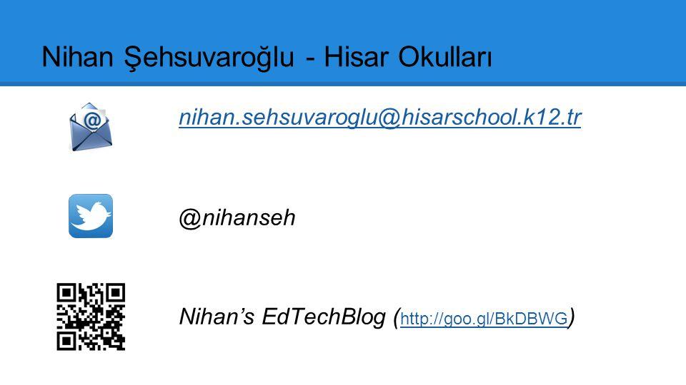 Nihan Şehsuvaroğlu - Hisar Okulları