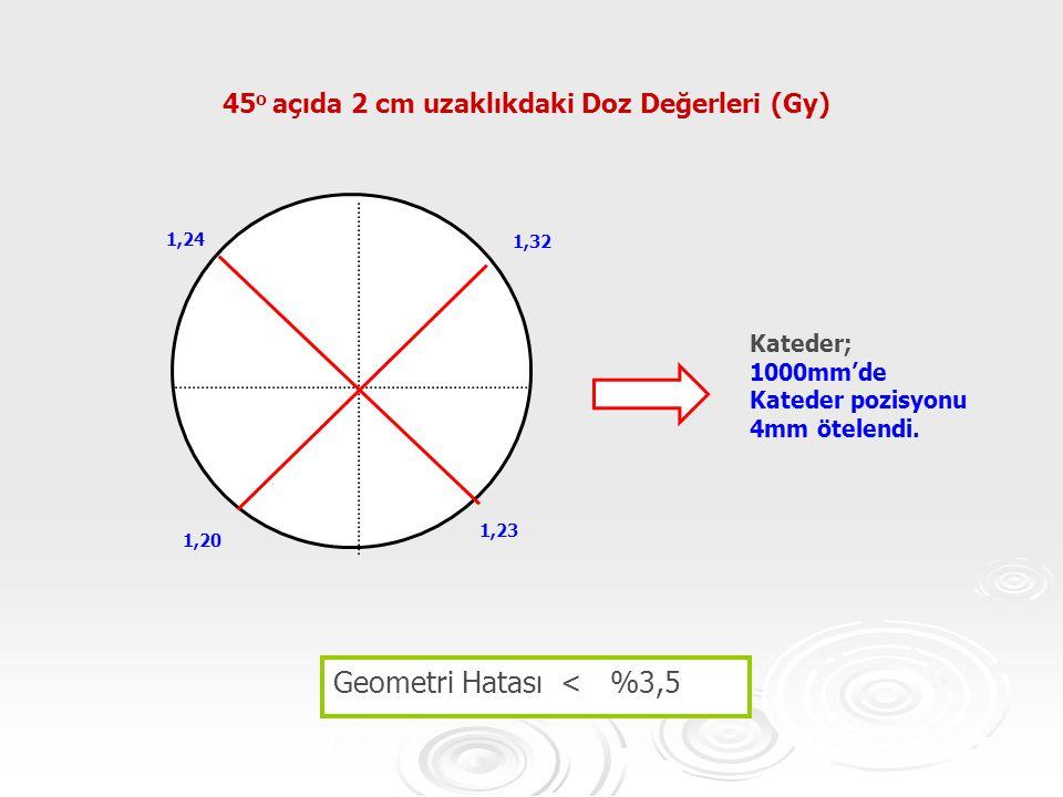 45o açıda 2 cm uzaklıkdaki Doz Değerleri (Gy)