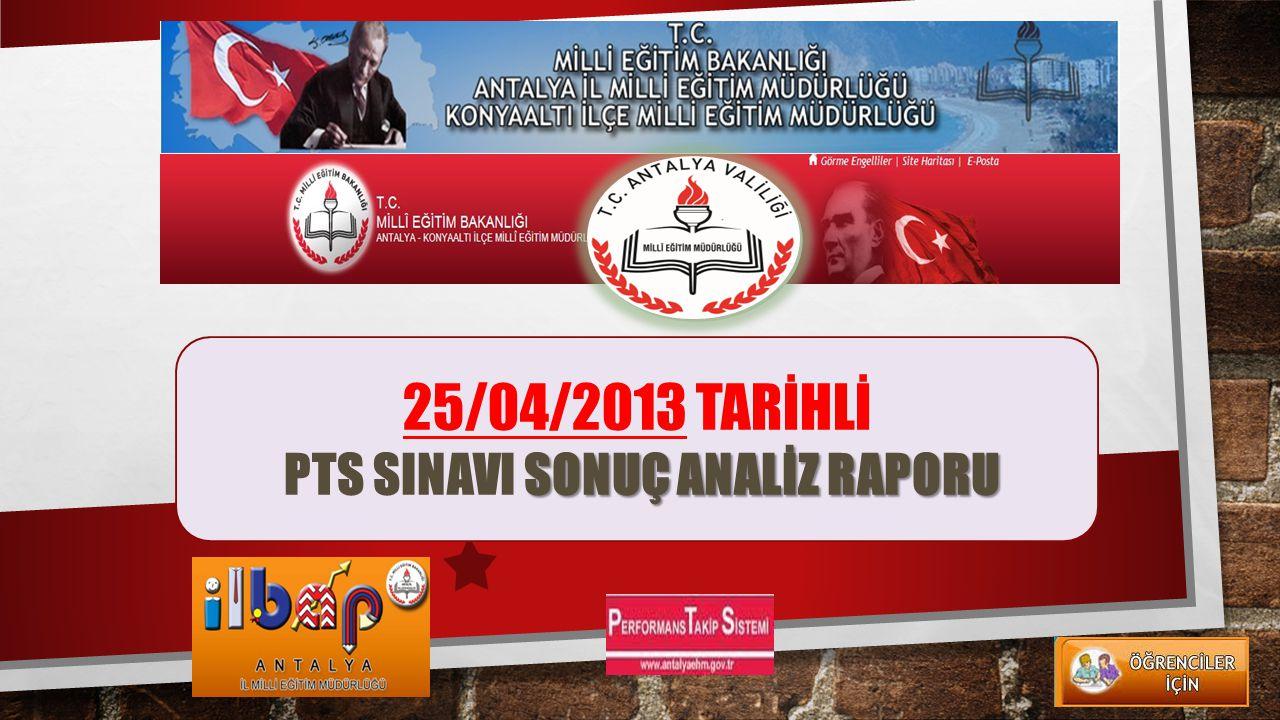 25/04/2013 TARİHLİ PTS SINAVI SONUÇ ANALİZ RAPORU