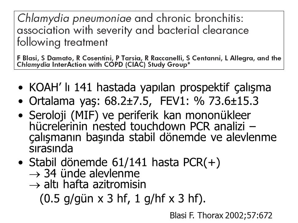 KOAH' lı 141 hastada yapılan prospektif çalışma