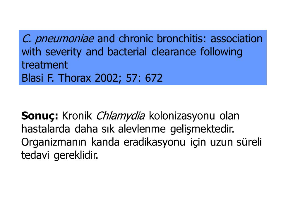 C. pneumoniae and chronic bronchitis: association