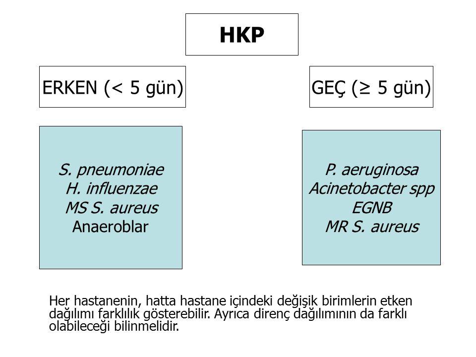 HKP ERKEN (< 5 gün) GEÇ (≥ 5 gün) S. pneumoniae P. aeruginosa