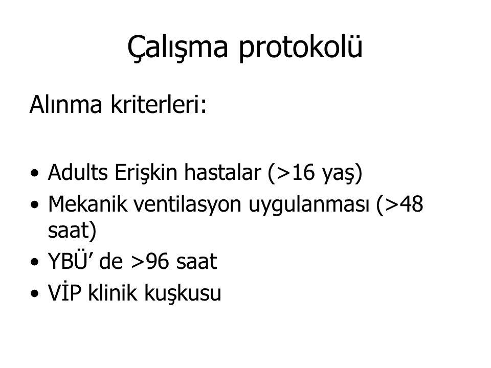 Çalışma protokolü Alınma kriterleri: