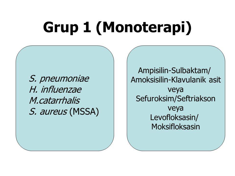 Grup 1 (Monoterapi) S. pneumoniae H. influenzae M.catarrhalis