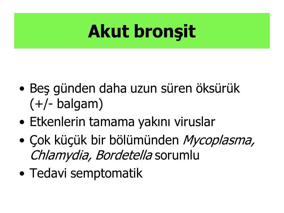 Akut bronşit Beş günden daha uzun süren öksürük (+/- balgam)