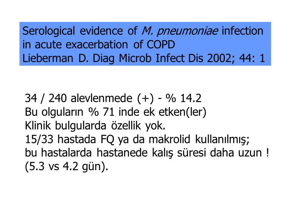 Serological evidence of M. pneumoniae infection