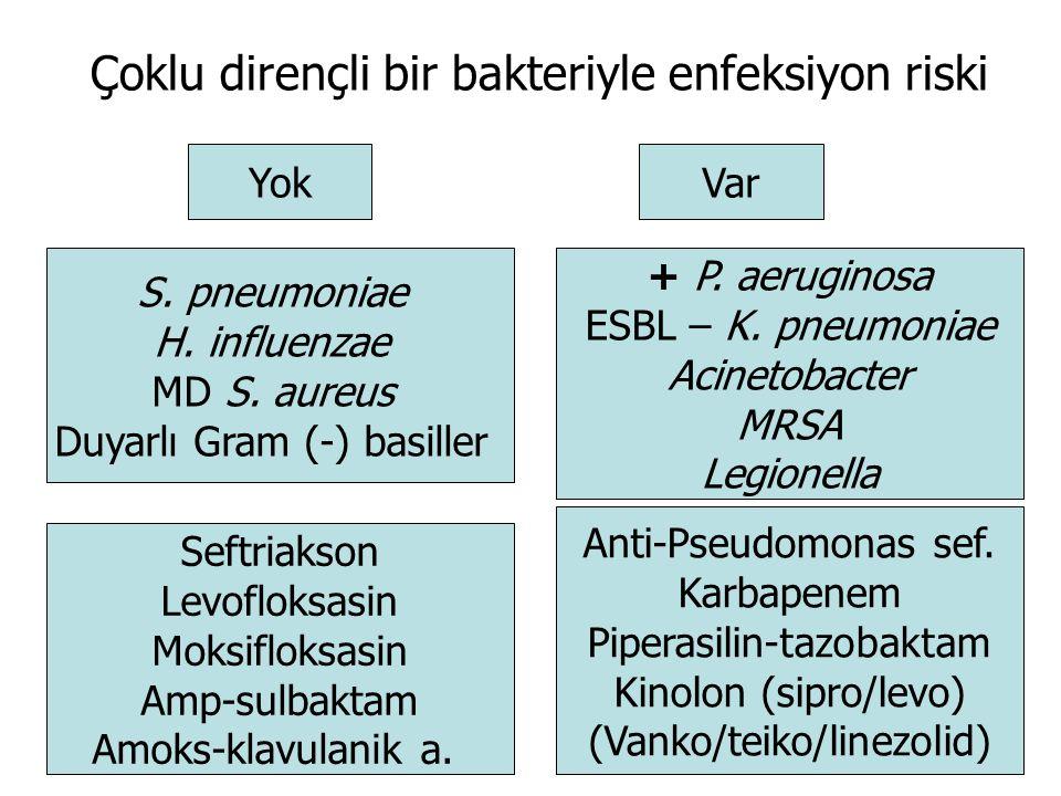 Çoklu dirençli bir bakteriyle enfeksiyon riski