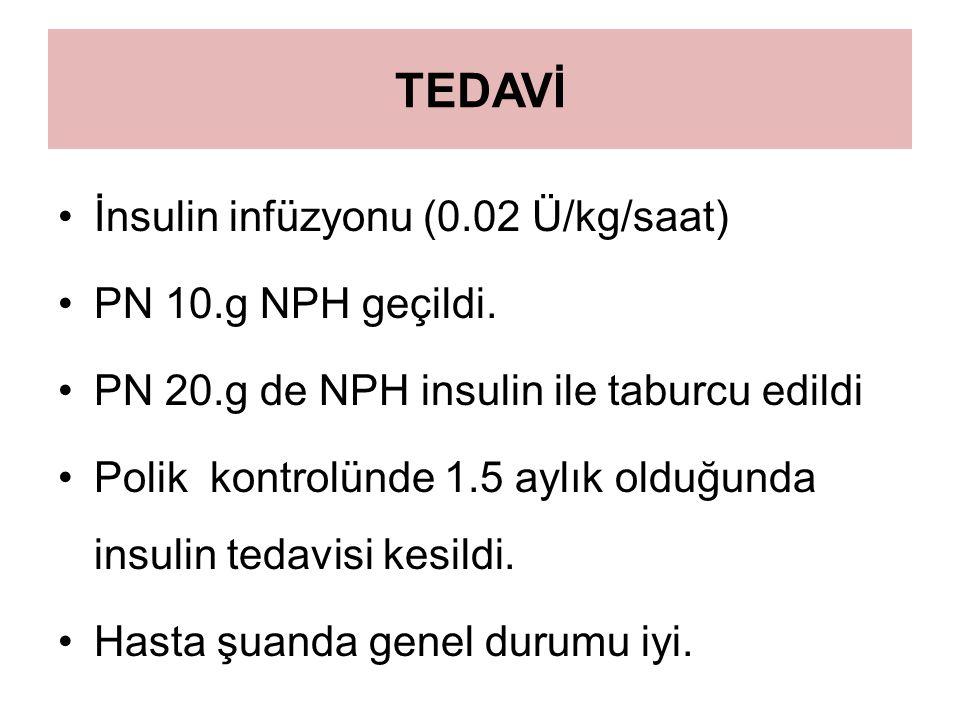 TEDAVİ İnsulin infüzyonu (0.02 Ü/kg/saat) PN 10.g NPH geçildi.
