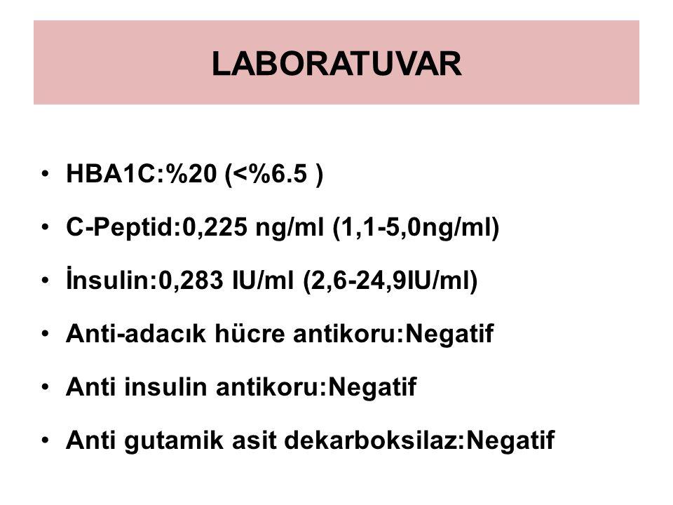 LABORATUVAR HBA1C:%20 (<%6.5 ) C-Peptid:0,225 ng/ml (1,1-5,0ng/ml)