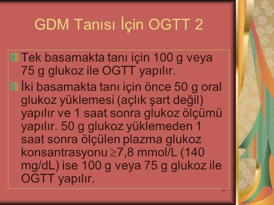 GDM Tanısı İçin OGTT 2 Tek basamakta tanı için 100 g veya 75 g glukoz ile OGTT yapılır.