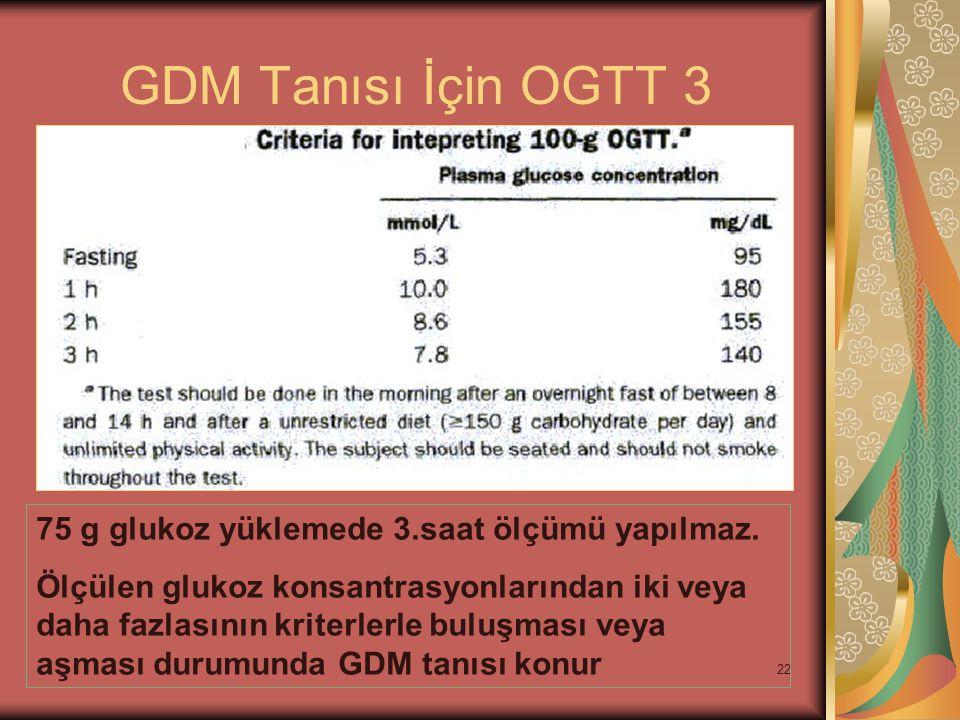 GDM Tanısı İçin OGTT 3 75 g glukoz yüklemede 3.saat ölçümü yapılmaz.
