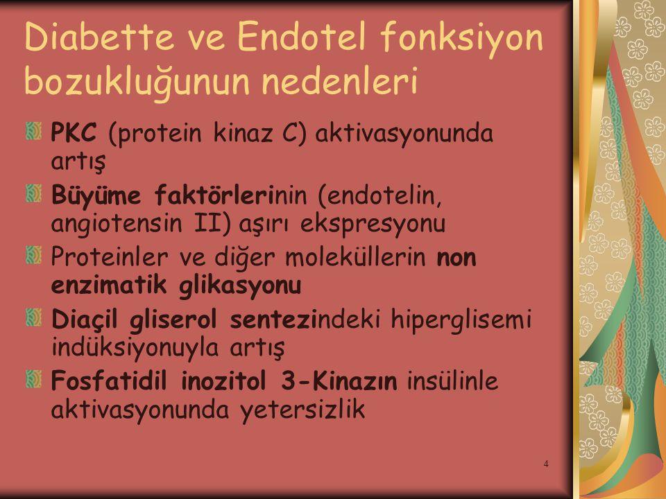 Diabette ve Endotel fonksiyon bozukluğunun nedenleri