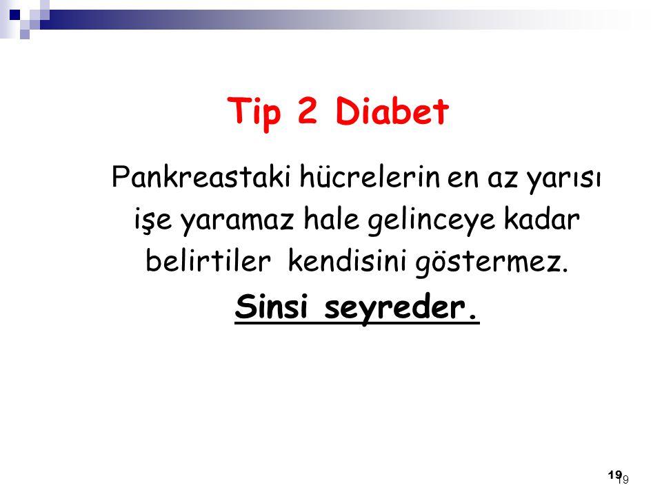 Tip 2 Diabet Sinsi seyreder. Pankreastaki hücrelerin en az yarısı