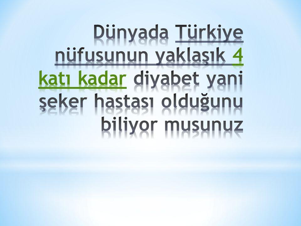 Dünyada Türkiye nüfusunun yaklaşık 4 katı kadar diyabet yani şeker hastası olduğunu biliyor musunuz